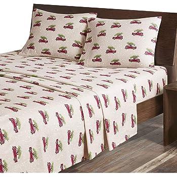 Amazon Com Woolrich Flannel Cotton Sheet Set Tan Cars Full Home Kitchen