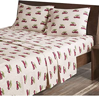 Libaoge 4 Piece Bed Sheets Set 1 Flat Sheet 1 Duvet Cover and 2 Pillow Cases Christmas Theme Bohemian Stripe Christmas Snowmans Trees Reindeers Snowflake Gingerbread Print