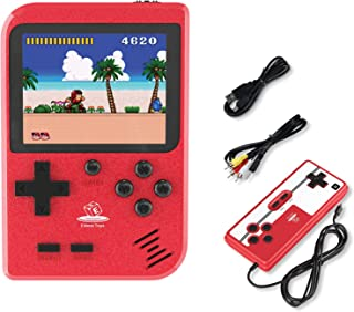 Handheld Game Console with 400 Classic FC Games in 1 by Emass- Two Players Option- 800mAh Rechargeable Battery- 8 Bit Built-in TV Connectible- Suitable for Kids & Adults- Mini Game Player