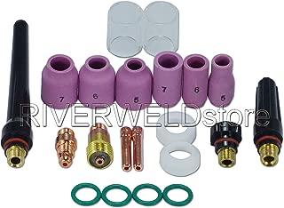 TIG Stubby Gas Lens 17GL332 Pyrex Cup & TIG Gas Lens Alumina Nozzle Kit Fit DB SR WP 17 18 26 TIG Welding Torch 21pcs