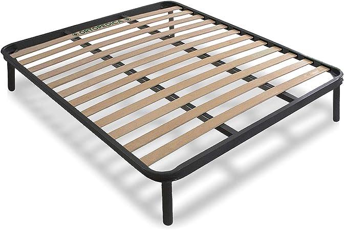 Cortassa - Somier ortopédico Kos cama de matrimonio 160 x 190 x 35 cm con 4 patas desmontables, estructura de acero