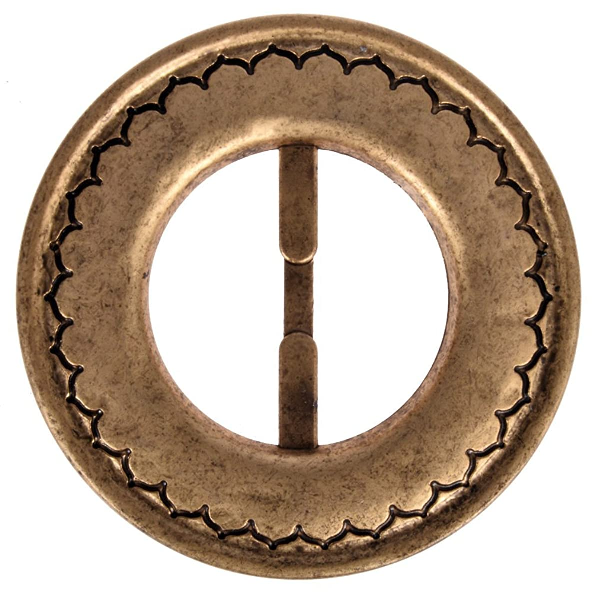 Mibo ABS Metal Plated Buckle Round Shape with Moroccan Design Pattern 30mm Inside Bar Matt Antique Gold