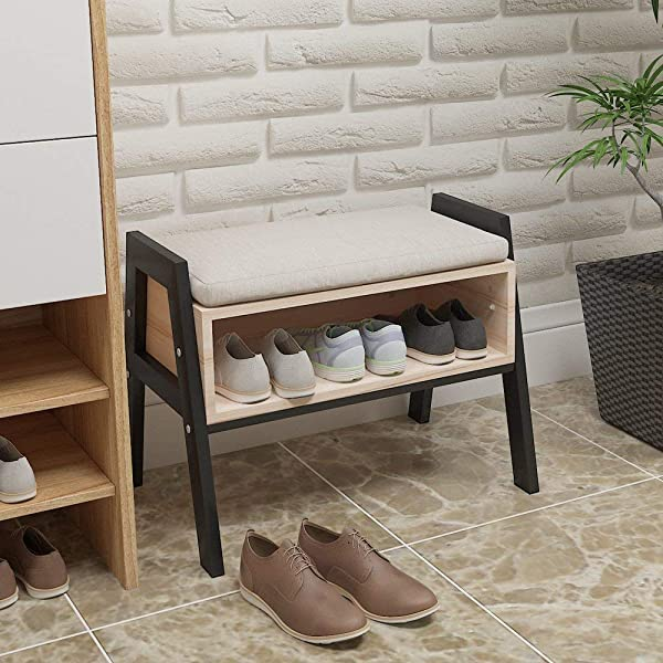 Homesailing Modern Wood Entryway Shoes Storage Bench Stool With Seat Shoe Ottoman Rack Cabinet With Free Seat Cushion For Hallway Door For Small Space Home Furniture