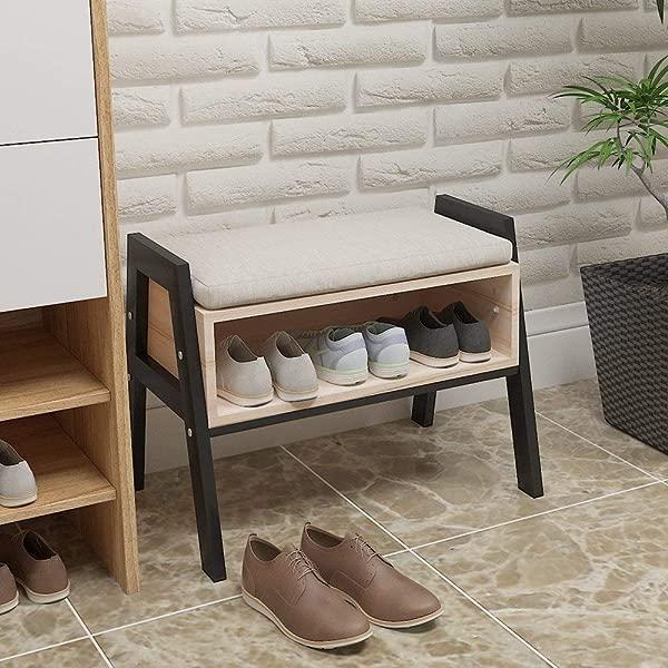 Homesailing 现代实木玄关鞋柜搁脚凳储物凳凳子带座机架柜免费坐垫走廊门口的小空间家居家具
