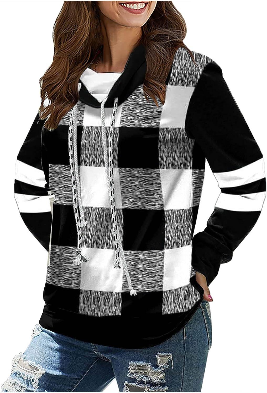 2021 Hoodies & Sweatshirts Women's Plaid Print Long Sleeve Tops Rope Pullover Top Sweatshirt Womens Hoodies Pullover
