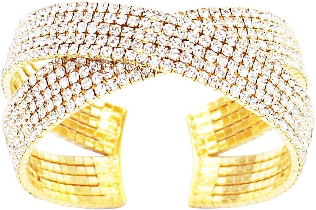 Rosemarie Collections Women's Criss Cross Rhinestone Statement Cuff Bracelet