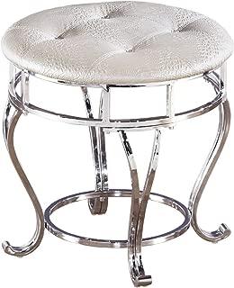Ashley Furniture Signature Design - Zarollina Vanity Stool - Silver Pearl Base and Upholstered Faux Gator Seat