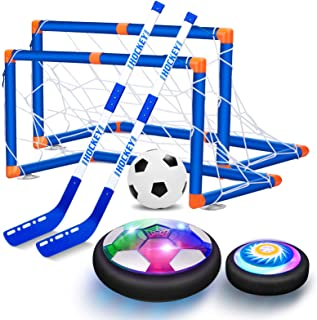 VEPOWER 2-in-1 Hover Hockey Soccer Kids Toys Set, USB Rechargeable and Battery Hockey Floating Air Soccer with Led Light, Indoor Outdoor Games Sport Toys Kit for Kids Boys Girls Ages 3 4 5 6 7-12