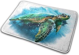 Bath Mat Door Mats Big Green Sea Turtle Ocean Animal Memory Foam Front Rug Bathroom Rugs Carpet for Inside Outdoor 15.7 X ...