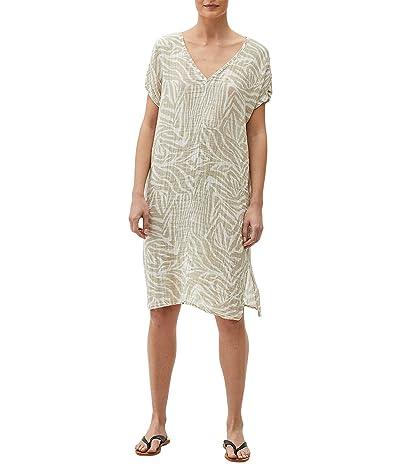 Michael Stars Louie Zebra Print Double Gauze V-Neck Dress w/ Slits