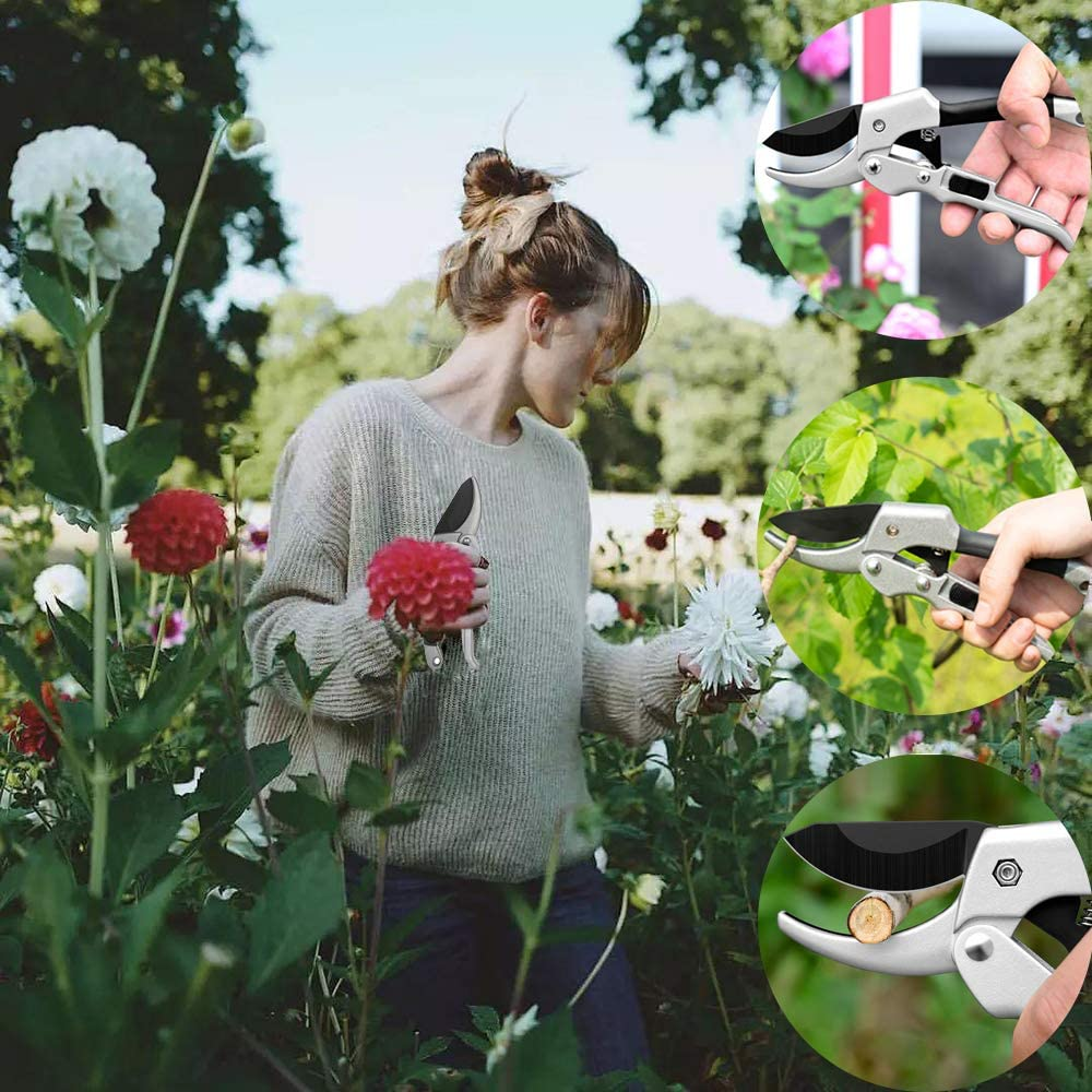 Gardening Tools Sets 3 Pieces Aluminum Heavy Duty Gardening Tools with Garden Trowel Transplant Trowel Hand Rake Best Gardening Gifts Ideal for Men and Women