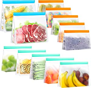 12 Pack Reusable Food Storage Bags, Stand Up FDA Grade Leakproof Reusable Freezer Bags,2 Reusable Gallon Bags + 5 Reusable Sandwich Bags + 5 Reusable Lunch Bags for Meat Fruit Cereal Snacks