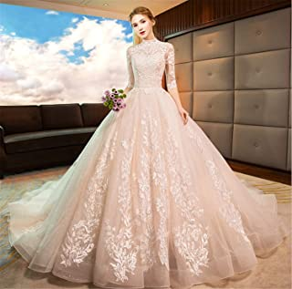 Wedding Dress Long Sleeves Evening Dress A Line Lace Jewel Applique Women Chapel Champagne Sexy Party S