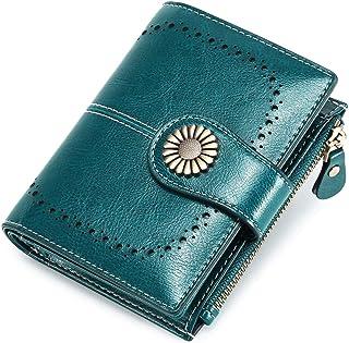 Portafoglio Donna Grande, Portamonete con Cerniera, Portafoglio con Protezione RFID, Porta Carte di Credito Tasche Pelle (...