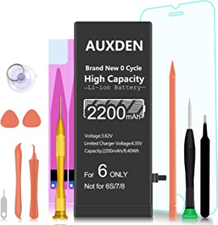 2200mAh Replacement Battery Compatible with iPhone 6, Auxden New 0 Cycle High Capacity Li-ion Battery with Complete Repair Tool Kits and Screen Protector - More Capacity, Longer Lasting