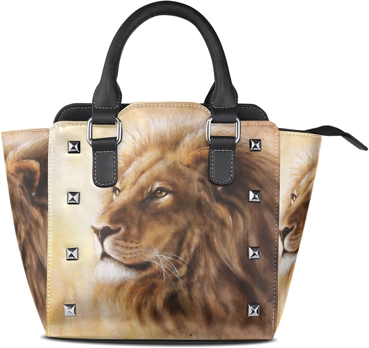 My Little Nest Women's Top Handle Satchel Handbag Lion Ladies PU Leather Shoulder Bag Crossbody Bag