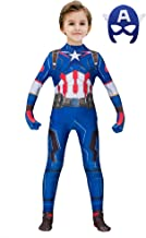 The Captain America Kids Bodysuit Superhero Costumes Lycra Spandex Halloween Cosplay Costumes