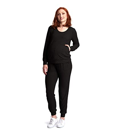Everly Grey Whitney Maternity/Nursing Two-Piece Set (Black) Women