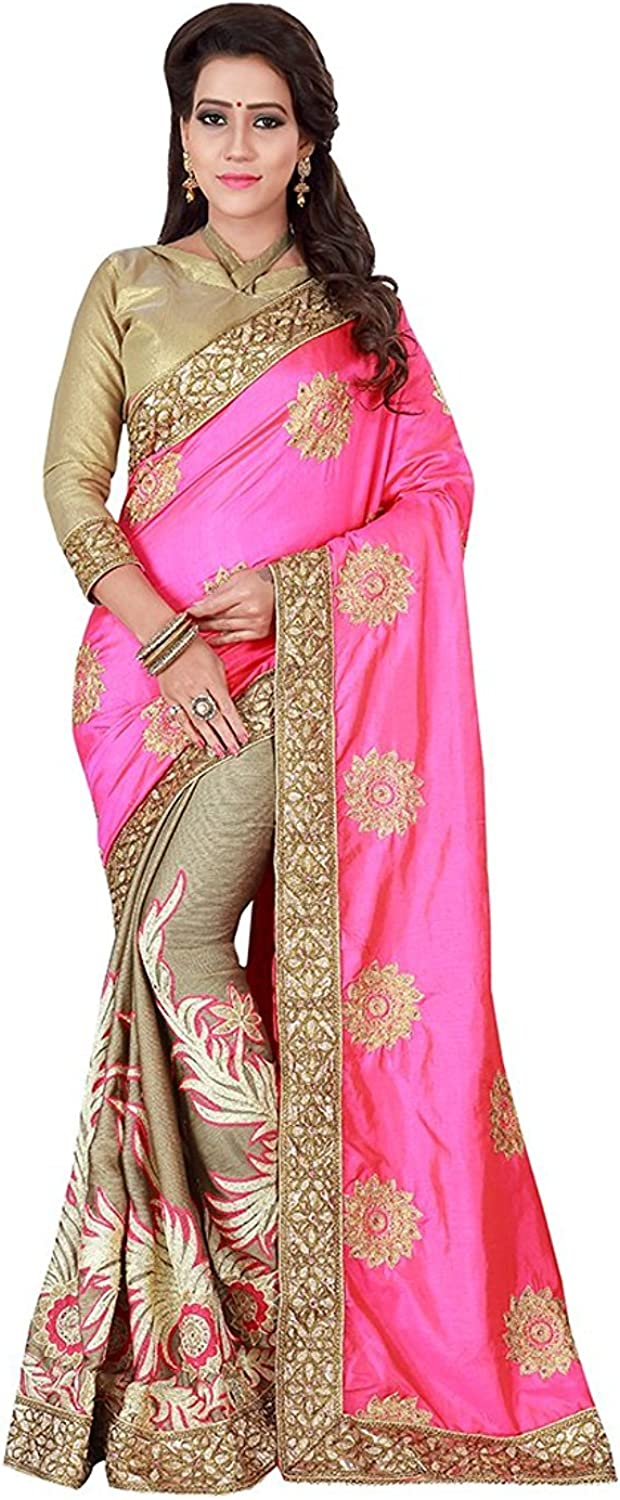 Indian Handicrfats Export Womens Brasso Silk Woven bluee & Red Saree with Blouse Piece