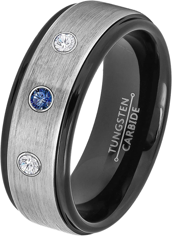0.21ct Blue Sapphire New York Mall and Import Diamond - Septemb 3-Stone Ring Tungsten