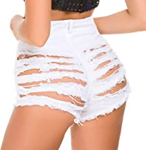 Tulucky Womens High Waist Ripped Hole Short Jeans Washed Distressed Sexy Denim Shorts