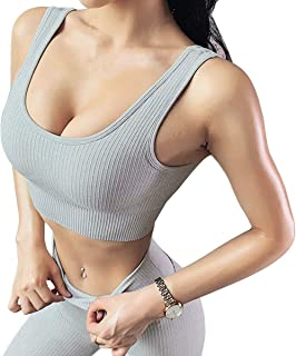 Jetjoy bbmee Exercise Outfits for Women 2 Pieces Ribbed Seamless Yoga Outfits Sports Bra and Leggings Set Tracksuits 2 Pie...