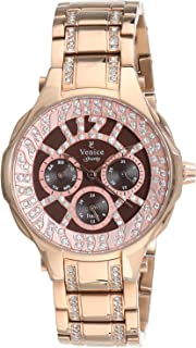 Venice SV4012-IPR-C Stainless Steel Stones embellished Brown-Dial Round Analog Watch for Women - Gold