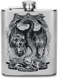 Winter Is Here Game Of Thrones Direwolf Lion Dragon Stagg Crow Kraken Print Hip Flask Pocket Bottle Flagon 7oz Portable Stainless Steel Flagon