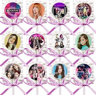 Black Pink Lollipops Party Favors Supplies Decorations w/K-Pop Suckers Pink Ribbon Bows Party Favors (12 pcs) South Korean Girl Band Jisoo Jennie Rosé Lisa