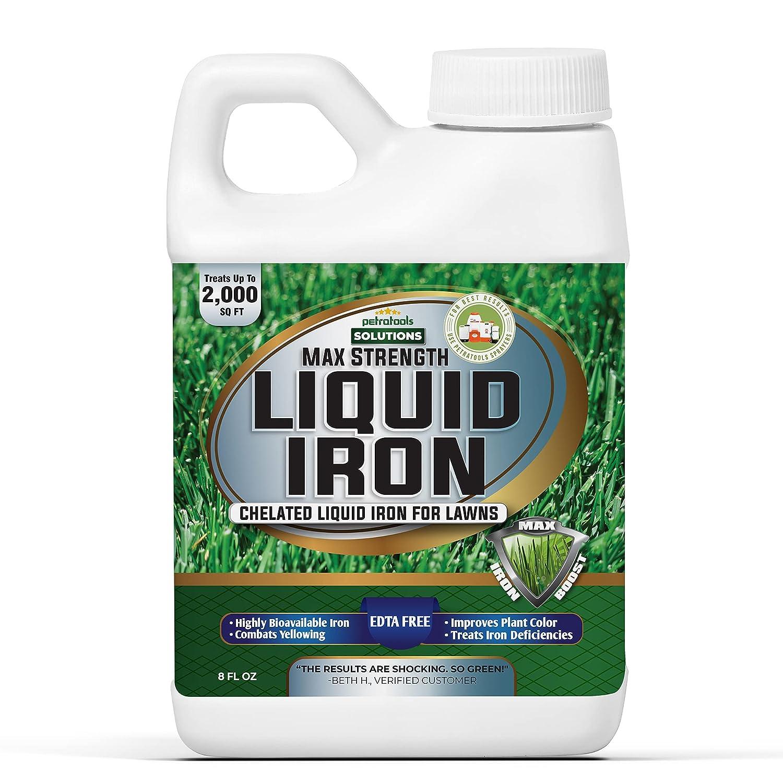 PetraTools Liquid Iron for Lawns - Chelated Iron, Liquid Iron for Plants, Liquid Lawn Fertilizer Concentrate Solutions, Chelated Iron for Plants, Lawn Iron Formula, EDTA-Free & Made in The USA (8 Oz)