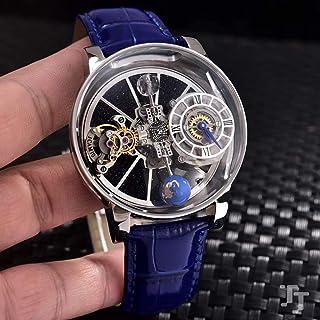 JFfactory - JFfactory Relojes mecánicos automáticos de Cristal de Bola de Zafiro Tourbillion de Cuero Negro Azul de diseñador de Pasarela de Reloj de Plata para Hombre a estrenar