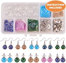 SUNNYCLUE 1 Box DIY 10 Pairs Crystal Bubble Glass Ball Bottle Dangle Stud Earring Making Starter Kits Jewelry Craft Supplies Adults Women Girls, Silver