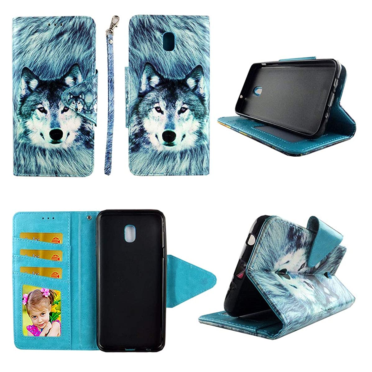 Snow Wolf Wallet Case for Samsung Galaxy J7 (2018) / J7 Refine / J7 V 2nd Gen / J7 Star Folio Standing Cover Card Slot Money Pocket Magnetic Closure Fashion Flip Pu Leather