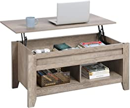YAHEETECH Lift Top Coffee Table with Hidden Storage Compartment & Lower Shelf, Dining Table Farmhouse for Living Room, 24.2in H, Craftsman Oak