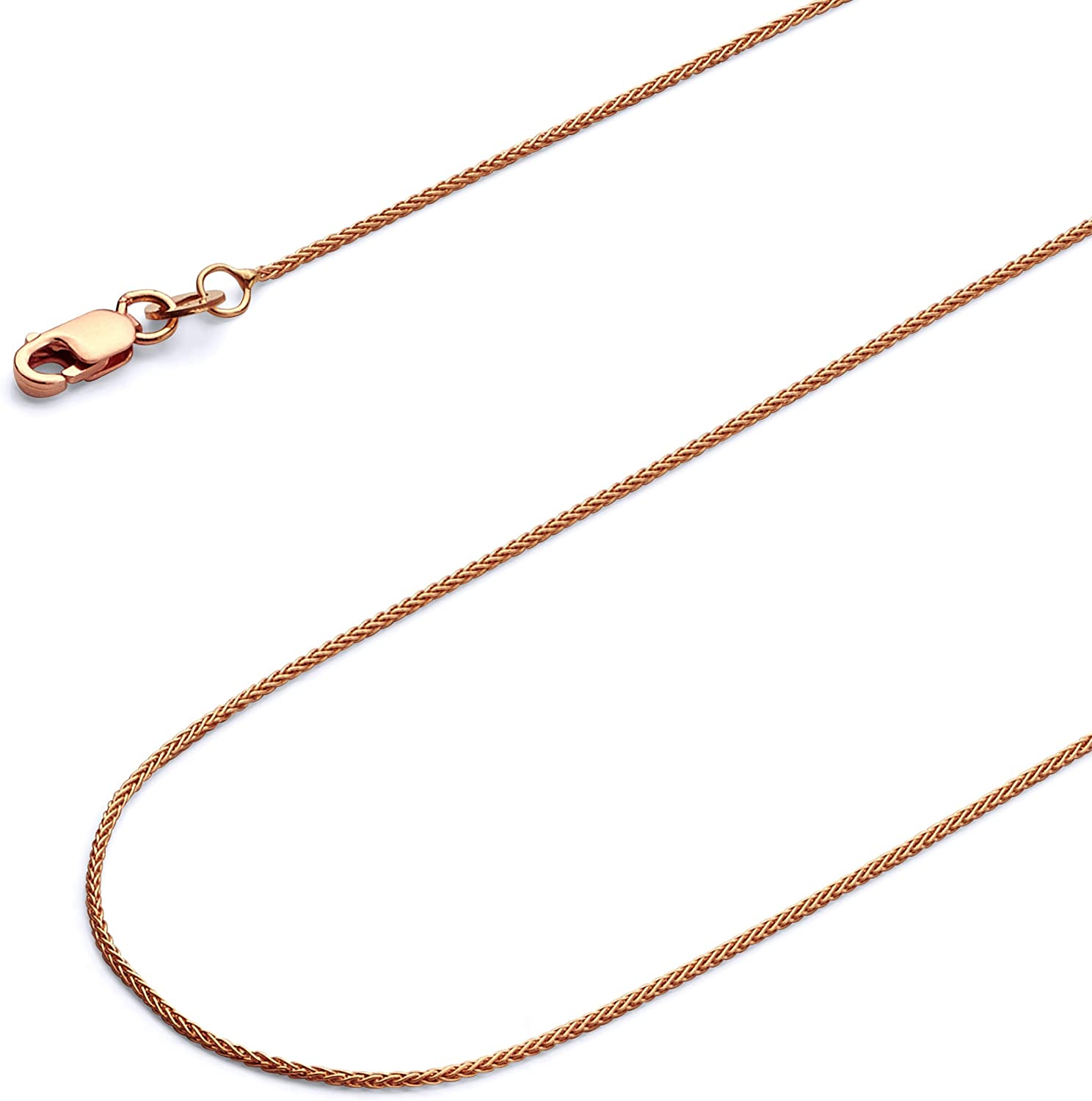 14k REAL Yellow OR White OR Rose/Pink Gold Solid 1mm Braided Wheat Chain Necklace with Lobster Claw Clasp