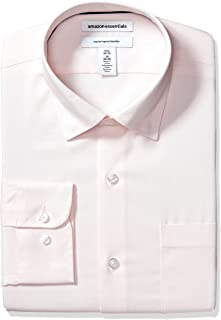 "Amazon Essentials Men's Regular-Fit Wrinkle-Resistant Stretch Dress Shirt, Pink, 15"" Neck 32""-33"" Sleeve"