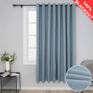 SimplyEasy 100% Blackout Blue Curtains Extra Wide Window Draperies for Bedroom Bonded Faux Linen Window Panel Curtain for Living Room, 1 Panel (100