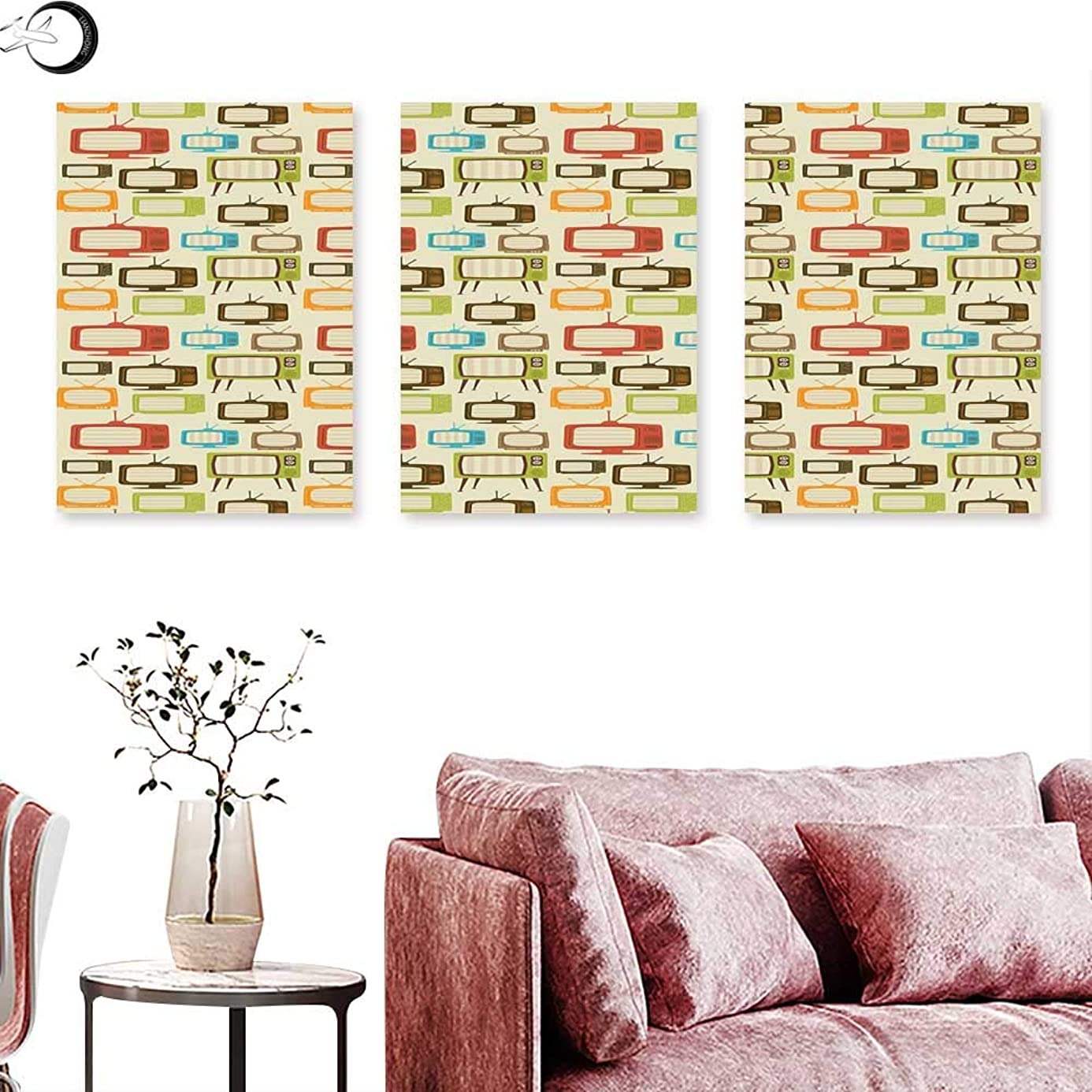 J Chief Sky Vintage Abstract Painting Floral Rustic Composition with Blossoming Branches Wildflowers Garden Triptych Art Set Pale Blue Cream Umber Triptych Art Canvas W 12