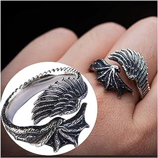 خاتم فضة استرليني للرجال من Angel Wings S925 ، استخدام لن يسبب الحساسية أفضل هدية