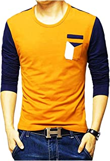 Leotude Yellow Blue 3/4th T-Shirts for Men