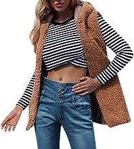 Sanyyanlsy Women's Fashion Sleeveless Waistcoat Ladies Winter Solid Hooded Tops Outwear Loose Long Vest Coat with Pocket