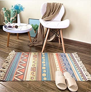 Ukeler Boho Cotton Printed Rugs Hand Woven Rug Outdoor Doormats Washable Braided Rug for Kitchen Entryway Bathroom Laundry...