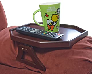 Utrax Wooden Sofa Arm Clip on Snack Table Wood Chair Armrest Tray Organizer Romote Caddy (Cherry)