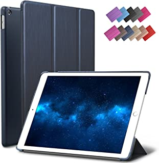 New iPad 9.7-inch 2018 2017 Case, ROARTZ Metallic Navy Blue Slim-Fit Smart Rubber Folio Case Hard Cover Light-Weight Wake Sleep for Apple iPad 5th 6th Generation Retina Model A1893 A1954 A1822 A1823