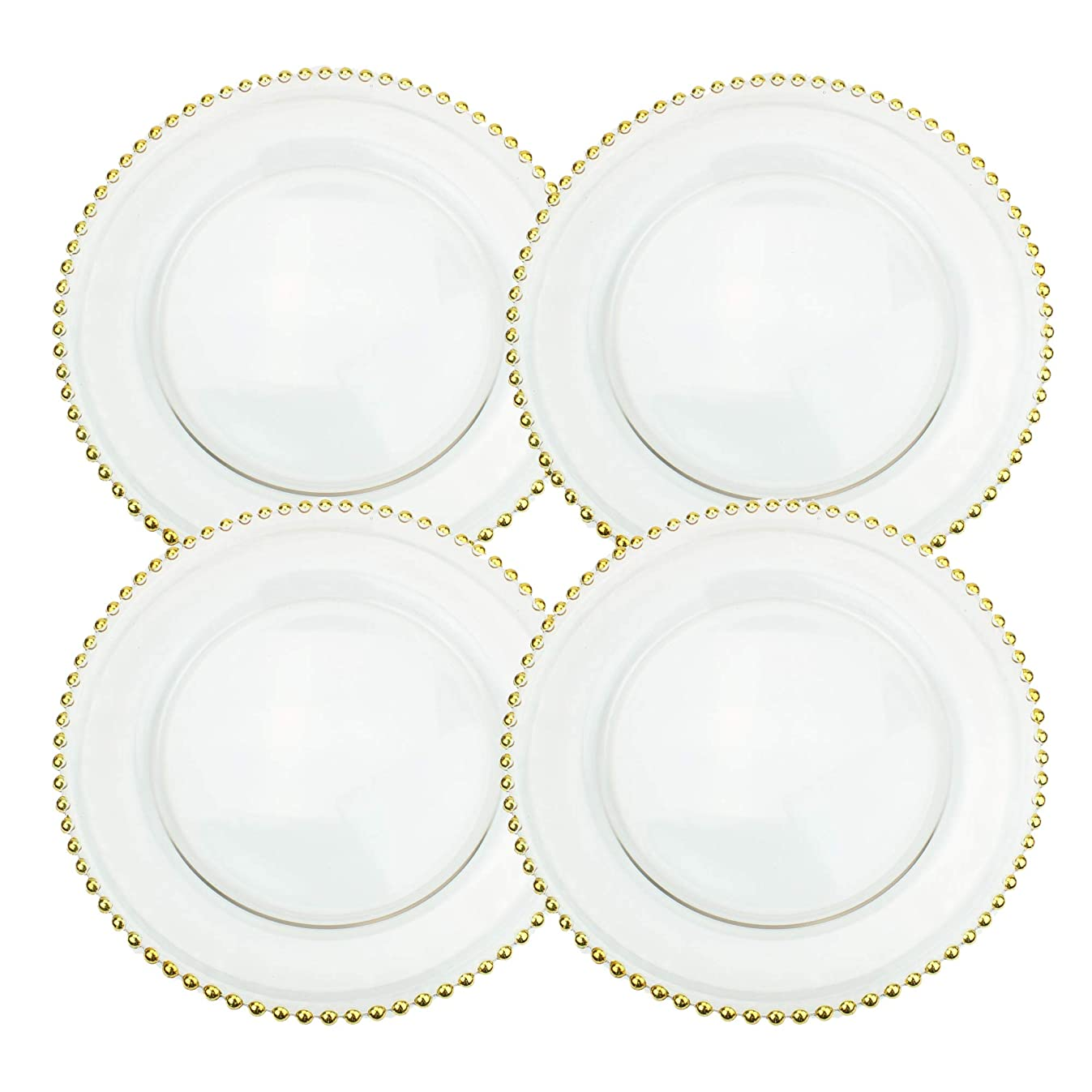 Ms Lovely Clear Glass Charger 12.6 Inch Dinner Plate with Beaded Rim - Set of 4 - Gold