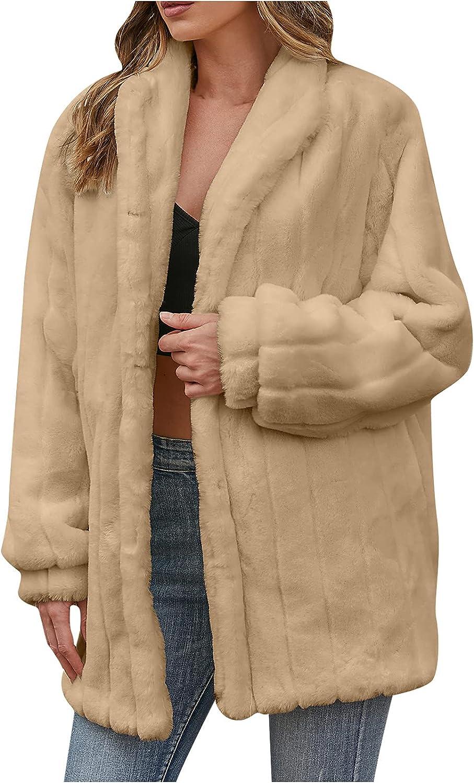 Women Winter Warm Coat Faux Fur Jacket - Furry Long Sleeve Outerwear Casual Solid Pocket Lapel Overcoat Soft Officewear