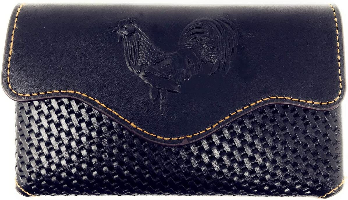 Texas West Western Cowboy Horizontal Basketweave Leather Rooster Cellphone Belt Holster Case in 2 Colors (Black)