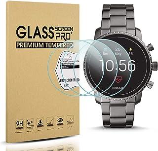Diruite 3-Pack for Fossil Q Explorist HR Gen 4 Screen Protector Tempered Glass for Q Explorist HR Smartwatch [2.5D 9H Hard...