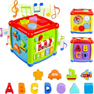 VAJEME Baby Activity Cube, Shape Sorter Blocks Baby Toy 18 Months and Up, Music Learning Toys for Toddlers Infant , Early ...