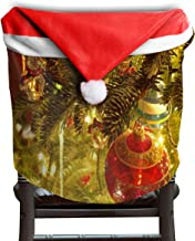 Ladninag Christmas Santa Claus Chair Back Cover Christmas Artwork Xmas Red Hat Cat Chairs Slipcovers for Kitchen Dinner Table Party Home Decor Room Holiday Festive Set of 4